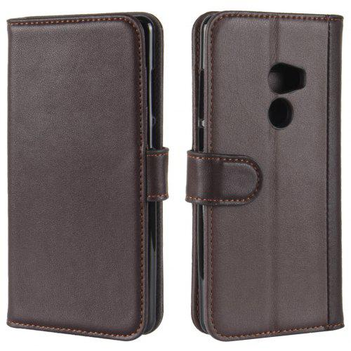 Solid Color Real Cow Leather Wallet Style Front Buckle Flip Case with Card Slots for Xiaomi Mi Mix 2