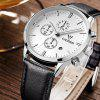 Cadisen 9201 Fashion Men Multifunction Leather Band Quartz Watch - WHITE