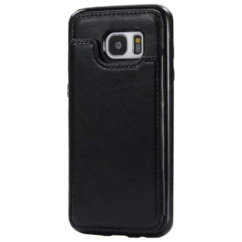 more photos bc9d4 81dd4 Case for Samsung Galaxy S7 Card Holder with Stand Back Cover Solid Color  Hard PU Leather