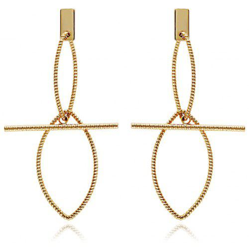 Simple Design Hollow Out Leaves Long Drop Earrings Gold Plated