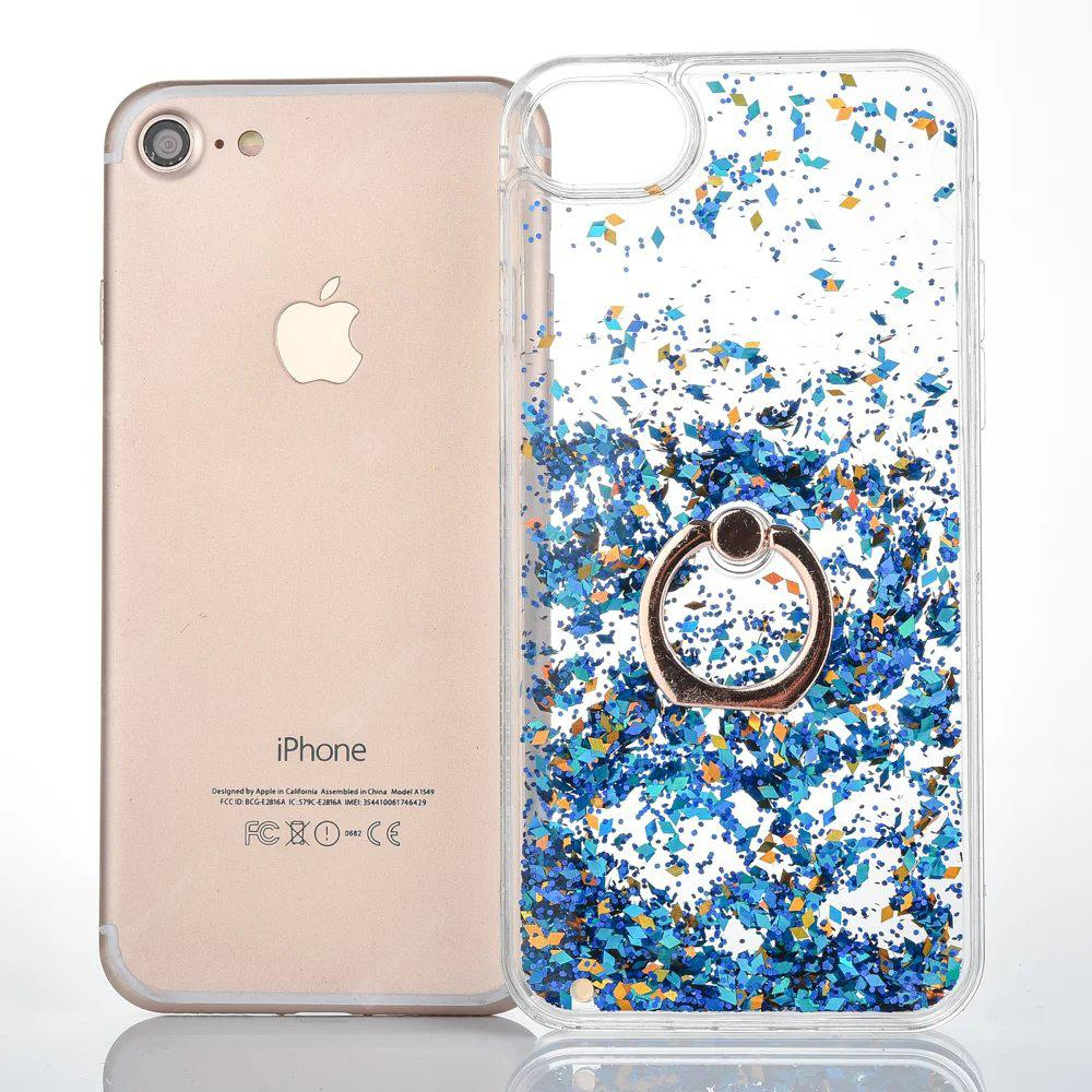 Quicksand Liquid Finger Ring Ständer Kunststoff Bling Glitter Case für iPhone 7 plus / 8plus