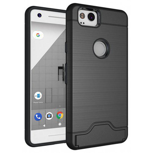 best service c4275 ce149 Shockproof Case with Card Slot Holder Kickstand Wire Drawing Cover for  Google Pixel 2 XL