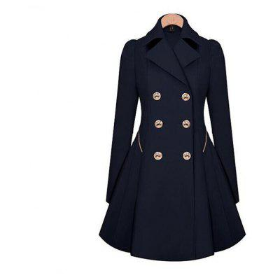 Trench Women Coat Navy Peacoat Long Sleeve Winter