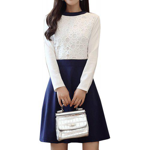 b9b2868a58c Women s Aline Dress Elegant Color Block Lace Patchwork O Neck Long Sleeve  Slim Midi Dress