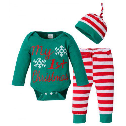 e8c7aabaa92b Newborn Baby Boys Girls Christmas Clothes Tops Romper Pants Hat 3PCS ...