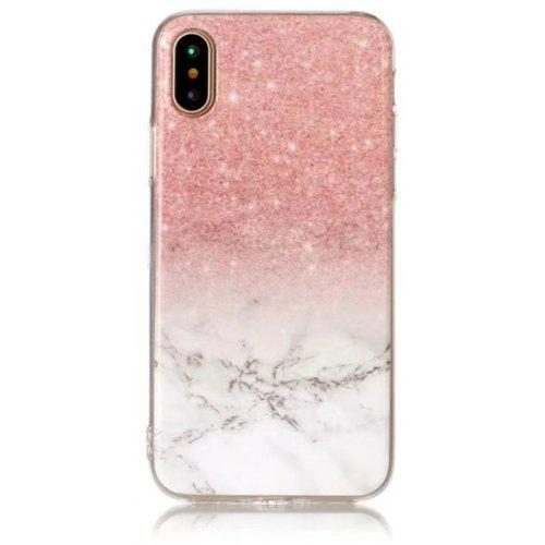 Pink White Marble Design Clear Bumper Glossy Tpu Soft Rubber