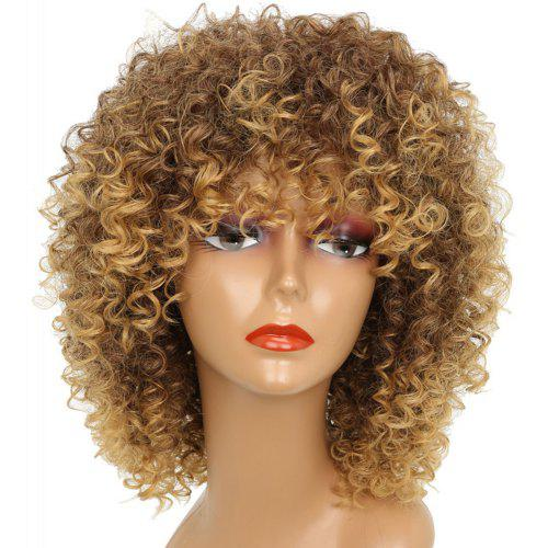 f62c37d0bea Short Kinky Curly Hair Hot Heat-resistant Synthetic Golden Blonde Mixed  Color Wig for African American Women