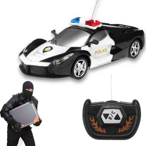 2 Channel Wireless Remote Control Rc Police Car Truck Kid Toy