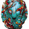 Men's Casual Hungry Wolf 3D Print Hoodie - GREEN