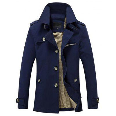 Men Solid Casual Style Plus Sizes Trench Coat