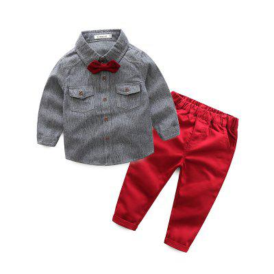 Kimocat Boy's Vertical Stripes Tie Shirt Suit in Spring and Autumn