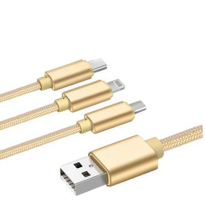 3 in 1 Type-C USB Mobile Phone Data Cable for Android IPhone