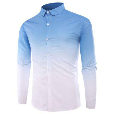 Men'S Casual Long-Sleeved Shirt Men'S Casual Gradient Color