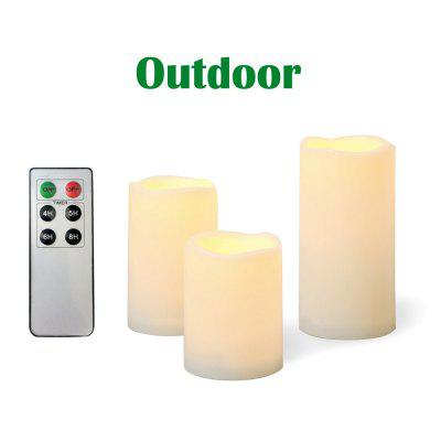 Set of 3pcs Outdoor and Waterproof Flameless Candles with Remote and Timer