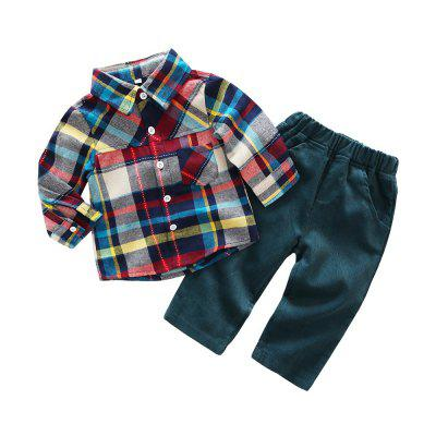 Kimocat Spring Male Baby Long-sleeve Checked Gentleman suit