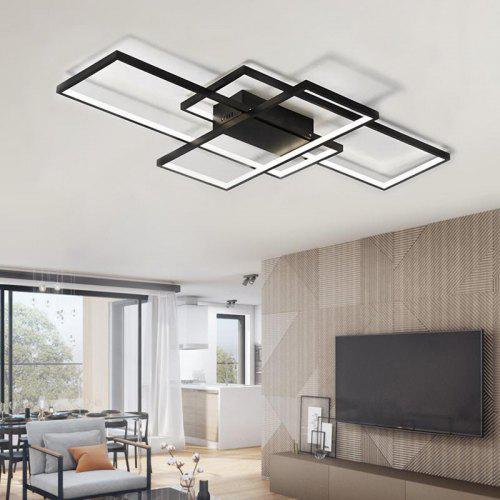 Modern Black Led Flush Mount Ceiling Light Square Combination Shape For Office Meeting Room Living Dining Bedrooms