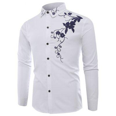 Fashion Lapel Leisure Bauhinia Casual Men'S Long-Sleeved Shirt Men