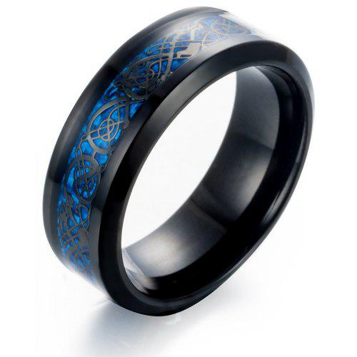 Black Gold Carbon Fiber Dragon Jewelry Men Titanium Steel Dragon