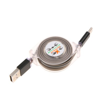 Retractable USB 3.1 Type-C Fast Charging Data Cable with LED Light 1M