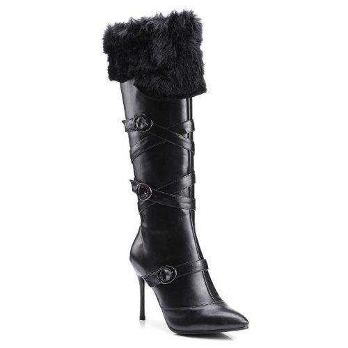 b0b3071f6407 Sharp Pointed with High-Heeled Fashion Belt Buckle Sexy Knight Boots ...