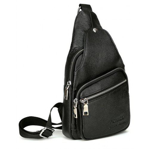Genuine Leather Men Chest Pack Single Shoulder Bag Mens Sling Messenger Crossbody For Man