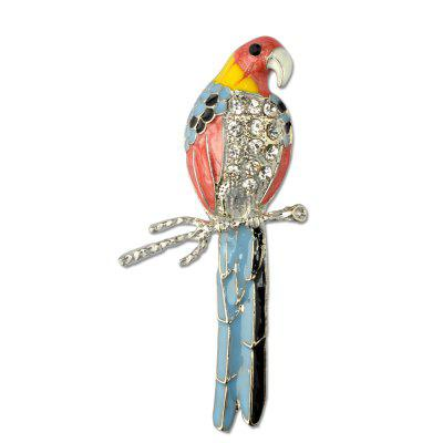 Cute Enamel Colorful Parrot Brooches for Women Fashion Rinestone Design Animal Brooch Pin