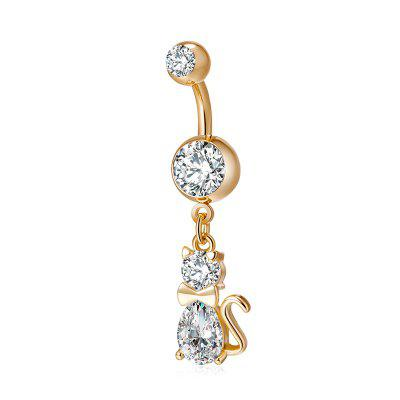 Lindo Pussy Cat CZ Navel Ring P0181