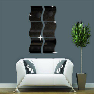 6pcs moda acrílico 3D Wave Home Decor Mural espejo pegatinas de pared