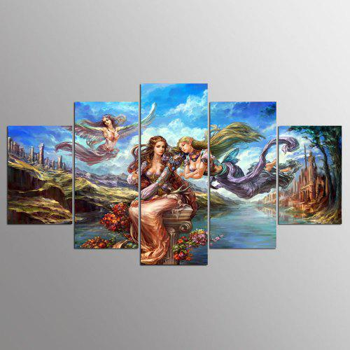 Ysdafen 5 Piece Wall Painting Home Decor Anime Poster Angel Girl Canvas Art