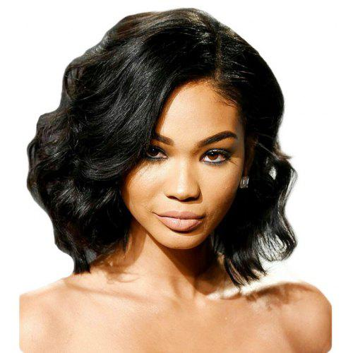 Deep Side Part Fashion Short Body Wavy Bob Lace Front Wig Synthetic