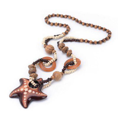 Women Vintage Bohemian National Wind Ocean Starfish Wood Bead Pendant Necklace Fashion Jewelry Birthday Present Collar