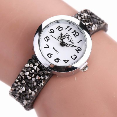 DUOYA D065 Women Rhinestones Leather Band Quartz Wrist Watch