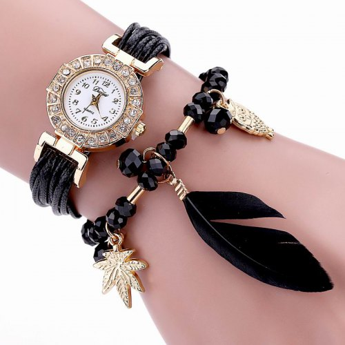 DUOYA D051 Women Beaded Analog Quartz Wrist Watch with Feather