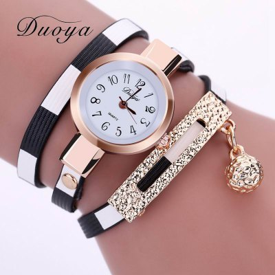 DUOYA D042 Women Wrap Around Leather Band Wrist Watch with Pendant