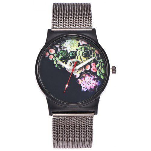 Trendy Ladies Watch Simple Half Black Fashion Silver Mesh Personalized Red And White Pointer Lovely Watch Gift Box