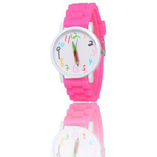 f2d3be2bf33 New Popular Children S Watch Cute Brush Pointer Fashion Watch Simple Style  Silicone Strap with Gift Box