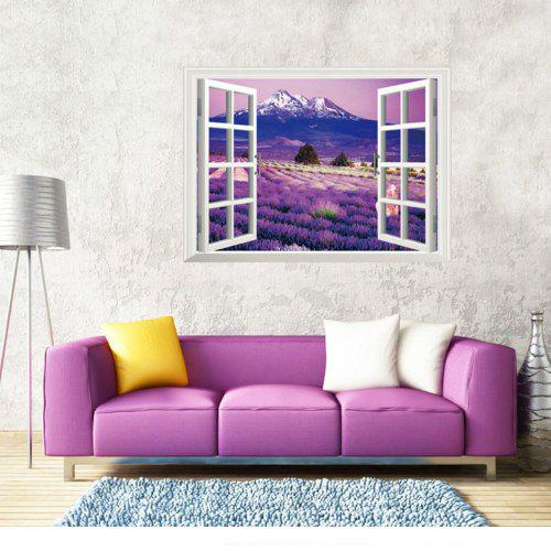 Opening Window Purple Lavender Flowers Wall Sticker For Kids Room Home Decor