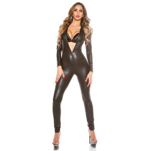 0f8b86f7f6 Women s Faux Leather Catsuit Full Bodysuit Zipper Vinyl Costume Jumpsuit