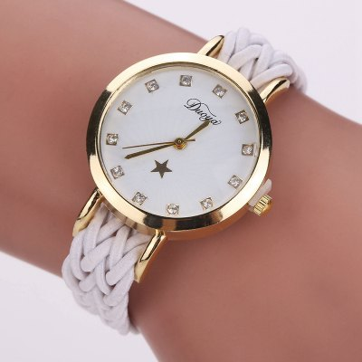 DUOYA D117 Ladies Braided Vintage Watch Luxury Gold Rhinestone Dress Watch