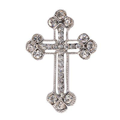 Vintage Crystal cross Brooches Pins for Man Fashion Jewelry Best Gift