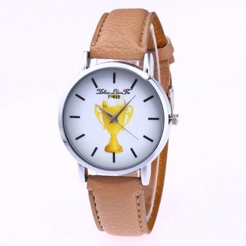 Zhoulianfa New Trend Silver Dial Lychee Pattern Leather Wine Cup Quartz Watch With Gift Box