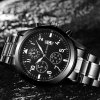 OUKESHI Gun Black Casual Waterproof Men Quartz Stainless Steel Calendar Watch - BLACK
