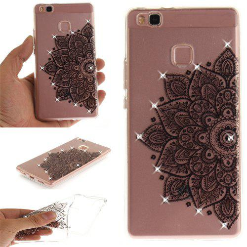 Black Half Flower Diamond Soft Clear IMD TPU Phone Casing Mobile Smartphone Cover Shell Case for