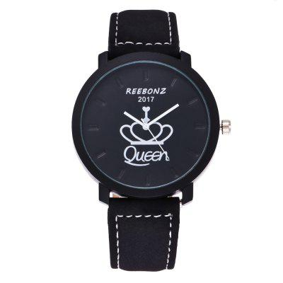 REEBONZ Fashion Leisure Personality KING QUEEN Male and Female Students Quartz Watch