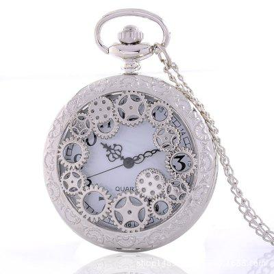 REEBONZ Steampunk Vintage Hollow Srebrny Gear Hollow Quartz Pocket Watch Naszyjnik wisiorek