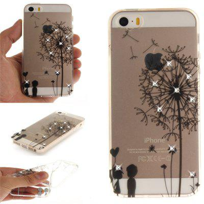 Dandelion Diamond Soft Clear IMD TPU Phone Casing Mobile Smartphone Cover Shell Case for iPhone 5/5S/SE butterfly bling diamond case
