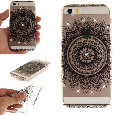 Black Datura Diamond Soft Clear IMD TPU Phone Casing Mobile Smartphone Cover Shell Case for iPhone 5/5S/SE butterfly bling diamond case