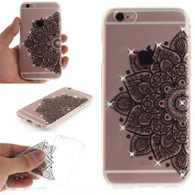Black Half Flower Soft Clear IMD TPU Phone Casing Mobile Smartphone Cover Shell Case for iPhone 6 Plus/6S Plus vouni galaxy series glittery powder soft tpu cover for iphone 6s plus 6 plus 5 5 inch blue