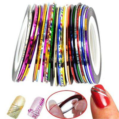 New Fashion Nail Art Decoration Sticker Mixed Colors Rolls Nail Strip Tape Line (Color: Multicolor)