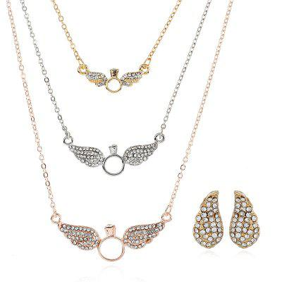 5PCS Wing Studded Alloy Multi-Layer Necklace Earrings Suit